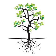 Spring Tree, Green Leafs and Roots. Vector Illustration.