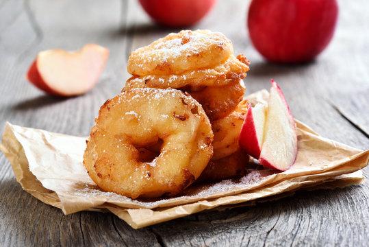 Apple rings on rustic table