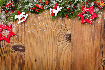 Winter background with natural green plants and xmas decoration