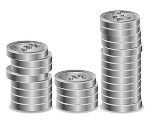 Pile of silver British sterling coins vector image