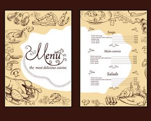 Hand drawn food illustrations for restaurant or cafe menu.