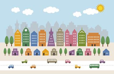 カラフルな都会の街