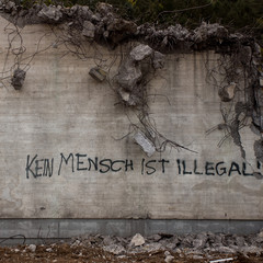 political statement on destroyed building in Germany