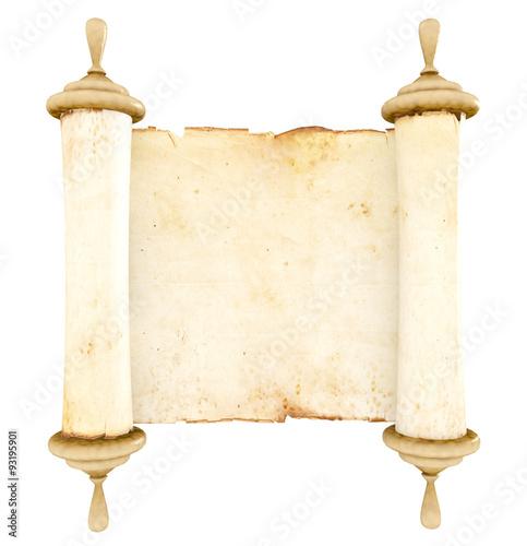 """Antique Scroll Paper: """"Old Antique Scroll Paper On White Background"""" Stockfotos"""