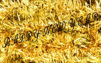 Christmas background. Golden holiday abstract glitter defocused background, blurred bokeh