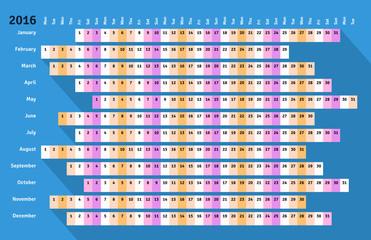 Blue flat linear calendar 2016 with long shadow