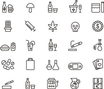DRUGS & ADDICTIONS outline icons
