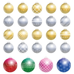 Twenty-four christmas tree balls - four are bigger - kind of an advent calendar - illustration over white background.