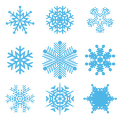 Set on different snowflakes