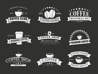 Set of coffee logo with ribbons