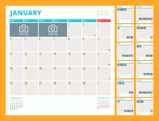 Monthly Calendar Planner for 2016 Year. Set of 12 Months. Week Starts Monday. Vector Design Print Template