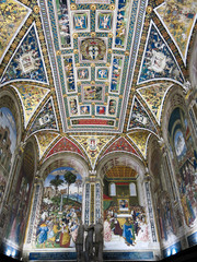 Piccolomini Library with frescoes inside Duomo di Siena or Siena Cathedral in Italy