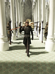Illustration of a Late Medieval, Renaissance or fantasy style spearman in black leather armour walking through a pillared hall or throneroom, 3d digitally rendered illustration