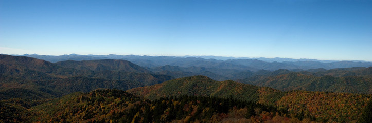 Panorama of the Blue Ridge Mountains in Autumn