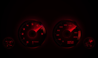 Dashboard with tachometer and speedometer. Vector illustration.