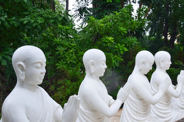 Buddhist Disciple statues at a temple