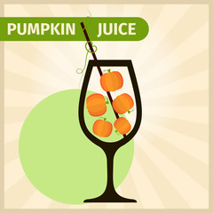 Fresh pumpkin juice or cocktail illustration concept. Healthy lifestyle or diet vector flat design elements.