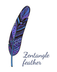 Hand drawn abstract colorful doodle feather. Vector zentangle illustration for your design. Good for greeting and invitation cards, party, bag, notebook cover, presentation.