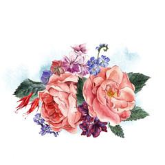Floral Vintage Greeting Card, watercolor illustration.