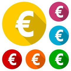 Euro sign icon set, EUR currency symbol with long shadow