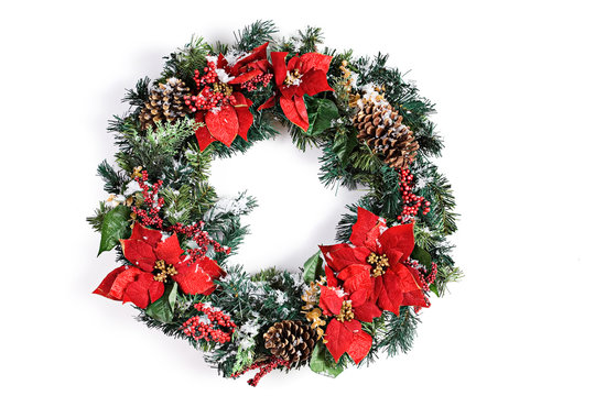 Christmas Holiday Wreath Isolated On White With Snow