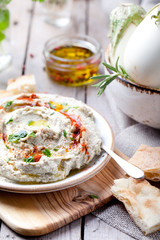 Traditional arabian eggplant dip baba ganoush