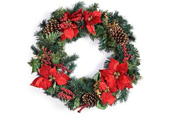 Christmas Holiday Wreath Isolated On White