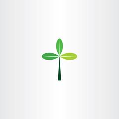 green cross tree leaf eco icon