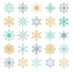 Snowflakes vector set Collection of twenty five ornamental snowflakes