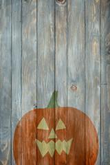 Spooky Pumpkin Illustration On Wooden Background