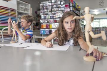 Portrait of girl in an art class