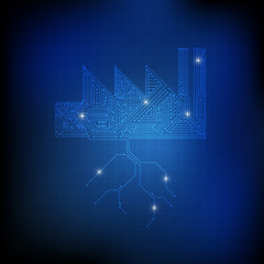 Vector : Electronic circuit in factory and ground on blue techno