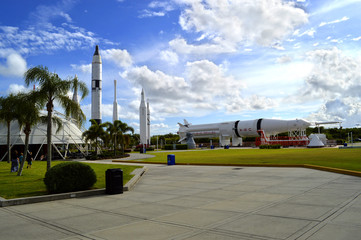 Cape Canaveral, Florida, USA - May 6, 2015: Apollo rockets on displayin the rocket garden at Kennedy Space Center