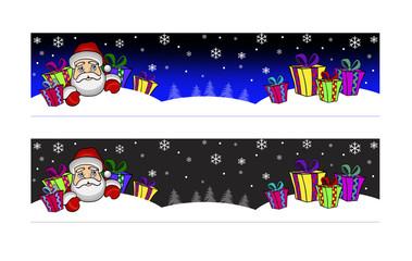 Горизонтальный новогодний баннер.Дед Мороз с подарками.