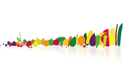 Vegetables and fruits in single file. Illustration over white background.