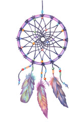 Watercolor dream catcher. Hand drawn vector illustration.