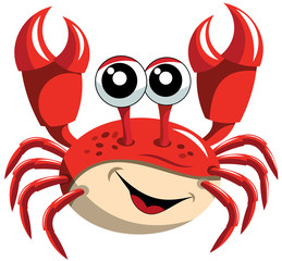 Happy Cartoon Crab Isolated