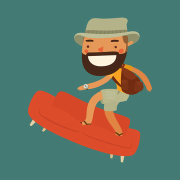 couchsurfing character. traveler character. vector illustration