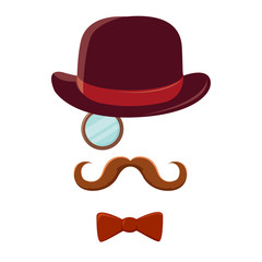 Man With Mustache Top Hat and Bow Tie
