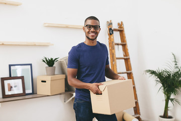 Young man moving in