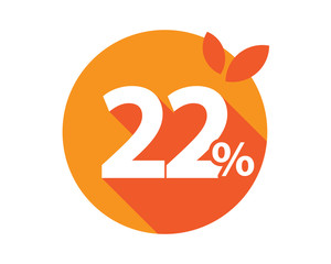 22 Percent Discount Logo Orange circle
