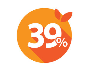 39 Percent Discount Logo Orange circle