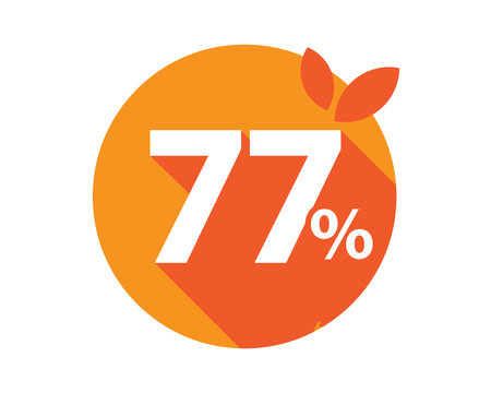 77 Percent Discount Logo Orange Circle