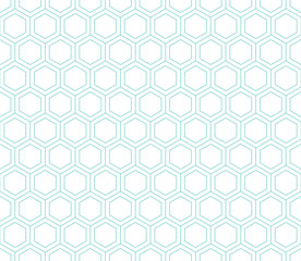 Seamless mint and white hexagon pattern vector