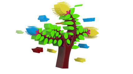 multicolour beautiful abstract design tree