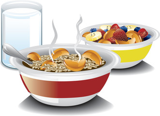 Illustration of a complete breakfast with oatmeal, a bowl of fruit and milk.