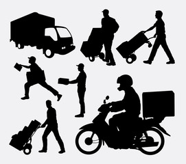 Delivery activity silhouettes. Good use for symbol, logo, web icon, mascot, or any design you want. Easy to use.