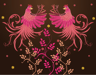 Vector batik design, rooster jump fly, flap their wings, visible fur fly, claw foot forward ready to fight, flowers or plants at the bottom
