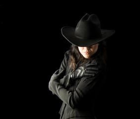 Woman in Black Wearing Cowboy Hat