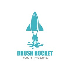 Brush Rocket Illustration. Brush Rocket Vector. Brush Rocket Logo. Brush Rocket Design. A quick example of a painting service company like a rocket.